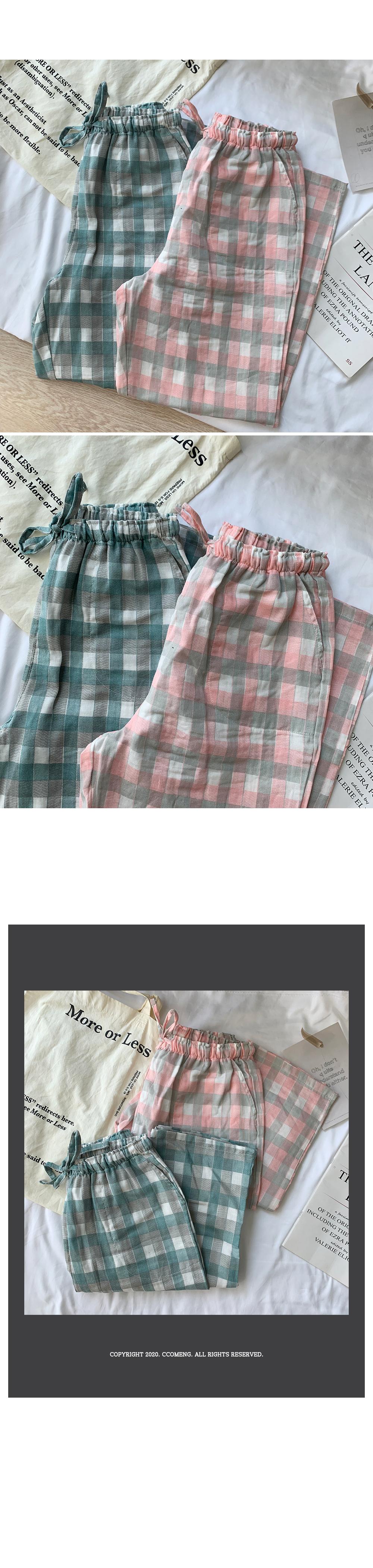 Pastel check pajama banding pants