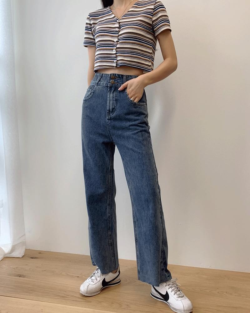 Two-button high-waist wide denim pants