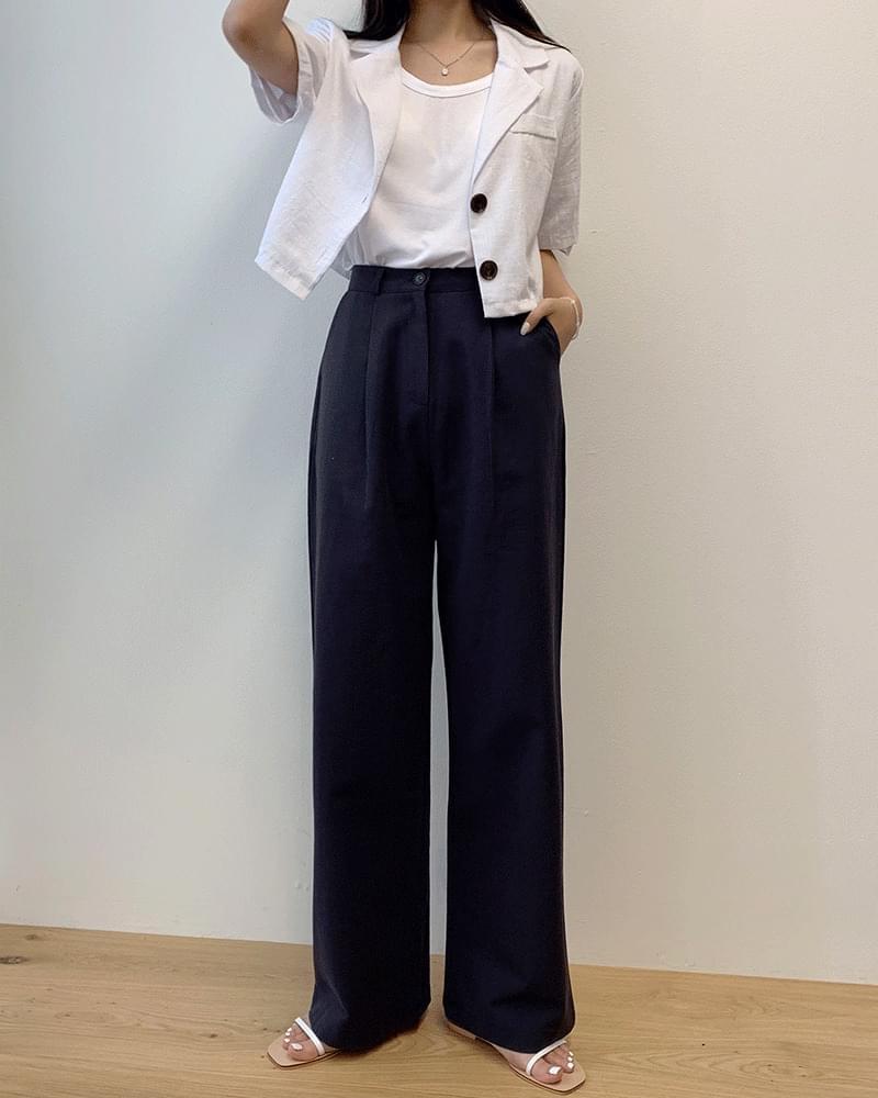 Pintuck cotton bucket wide thin cotton pants