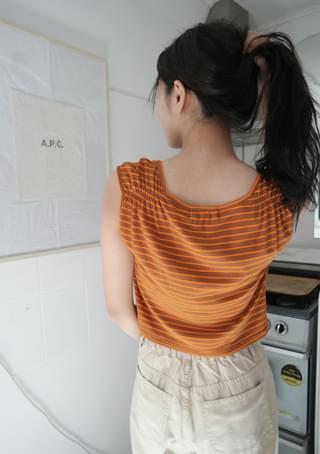 tangerine shirring stripe top