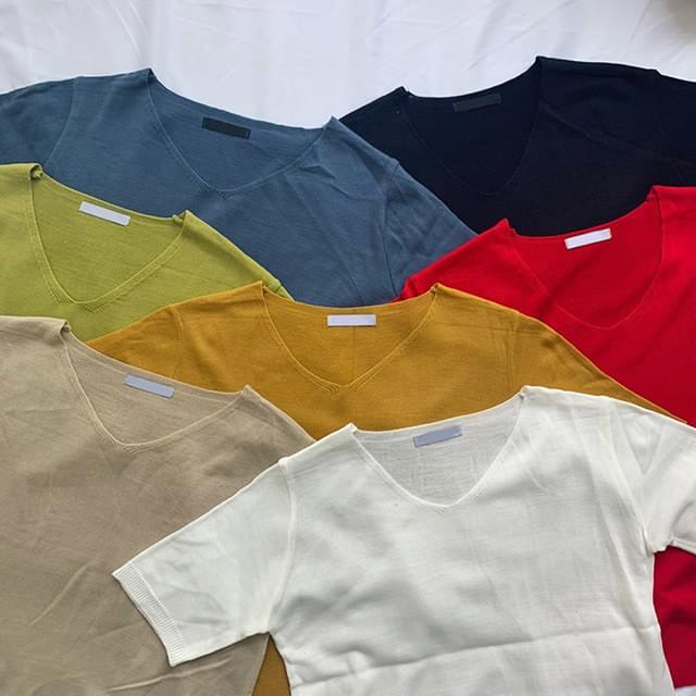 Shabu-Neck Knit Short Sleeve Tee