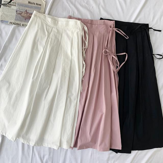 Pleated ribbon wrap skirt