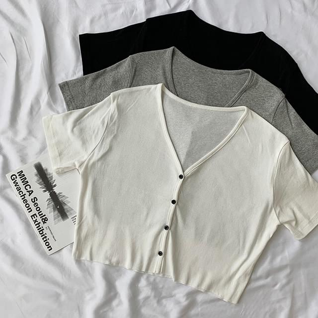 Simple cropped short-sleeved cardigan