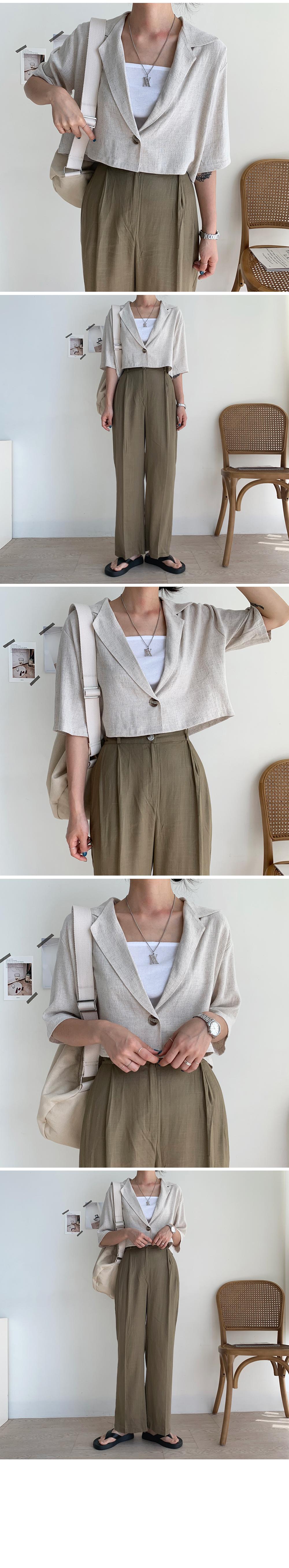 Linen cropped half jacket