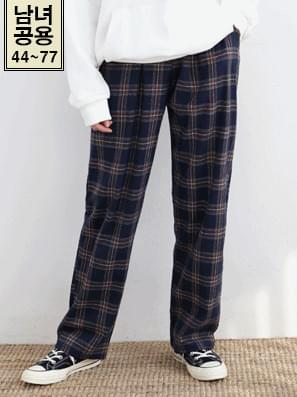 Straight wide check pants 3color