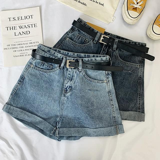 Faded Trim Roll-up Denim Shorts