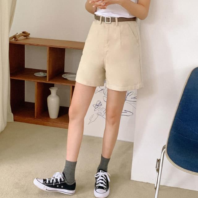 High waist 4 part cotton short pants