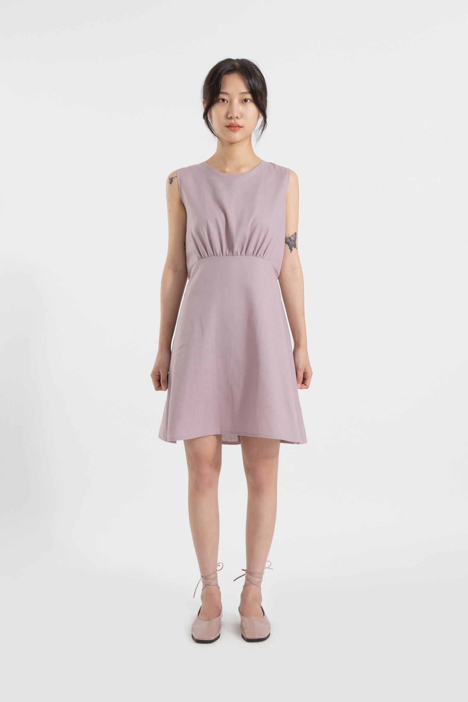 Coco shirring sleeveless midi dress