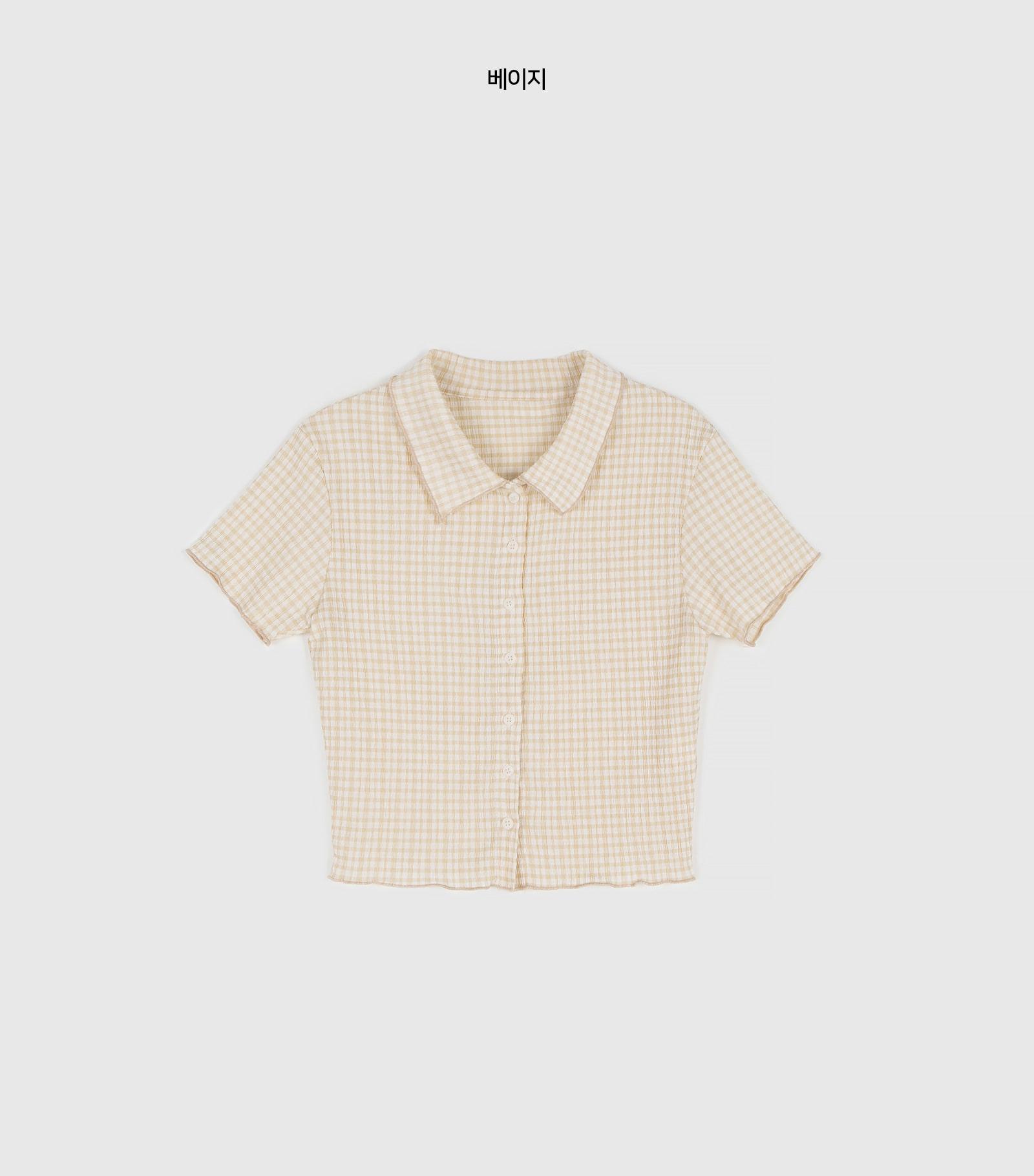 Loving check collar blouse