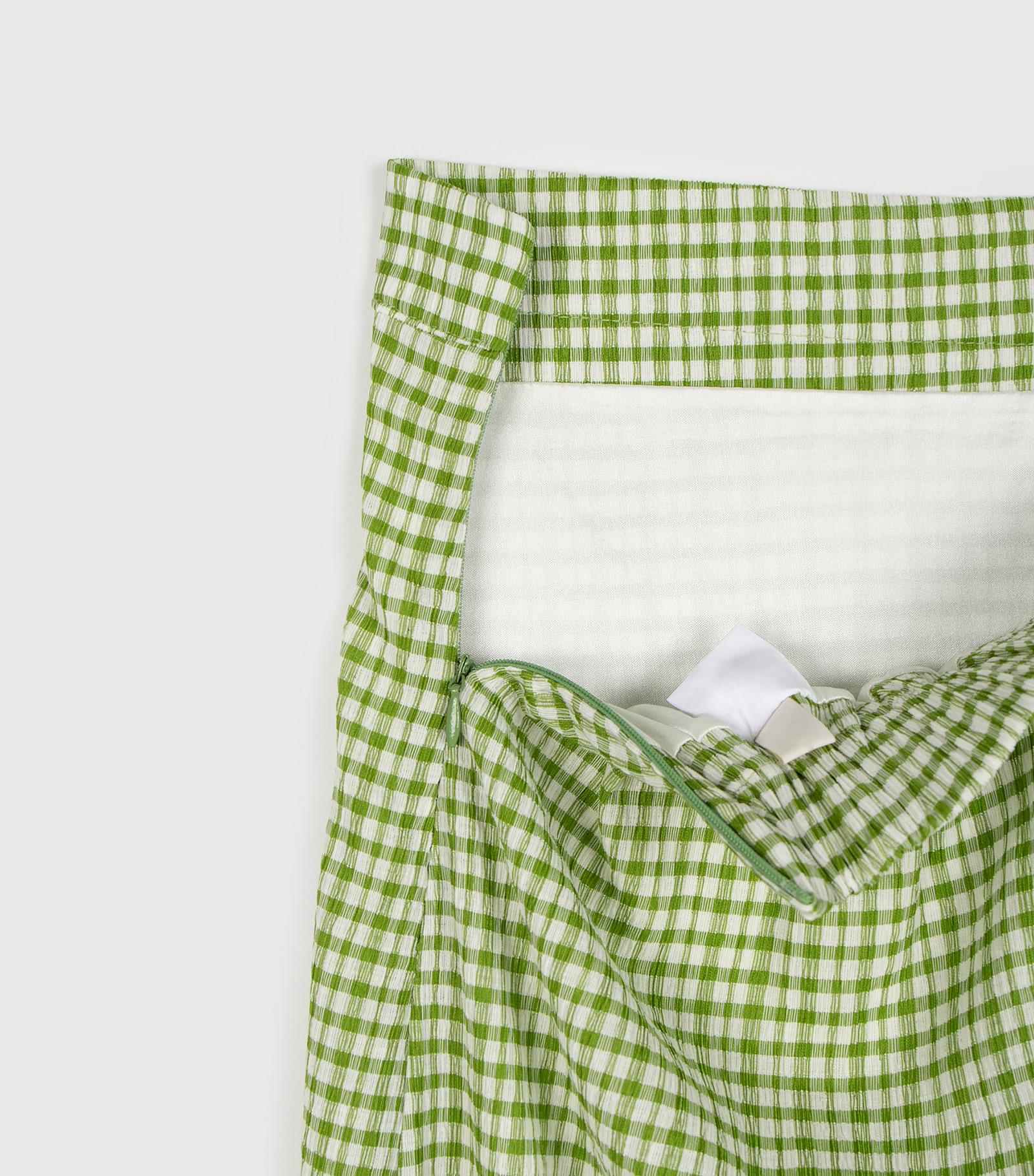 Loving Check Banding Maxi Skirt
