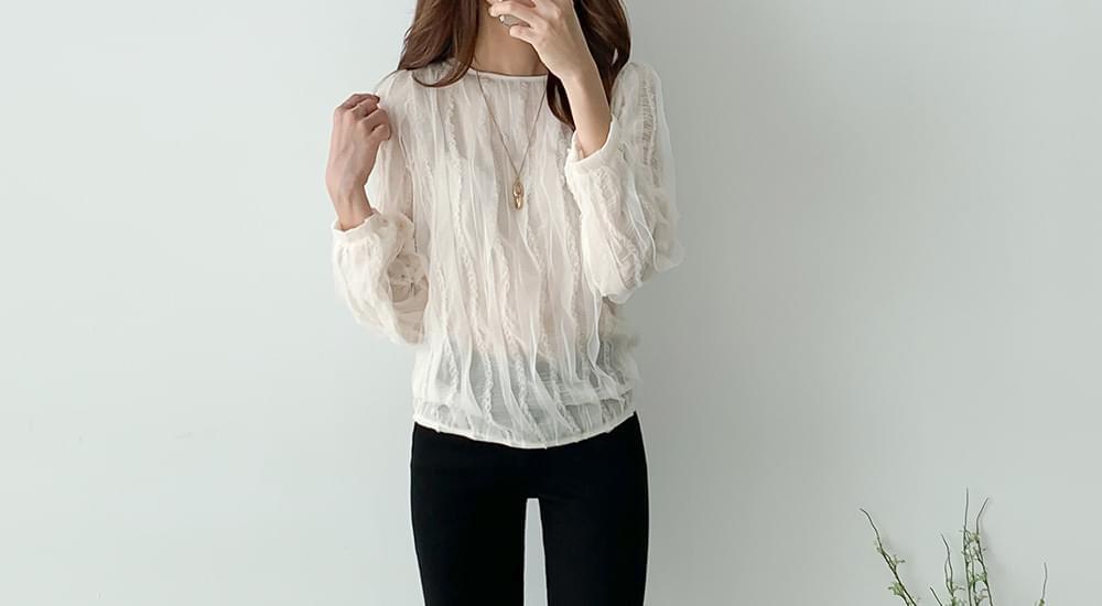 Wavy see-through blouse #47637
