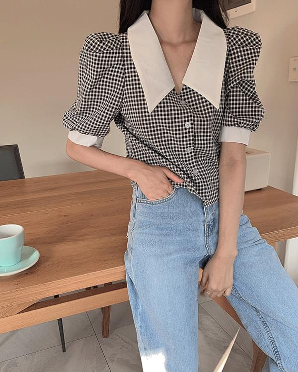 #Any place Gale Big Collar Check Blouse