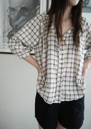 vintage check V-neck blouse