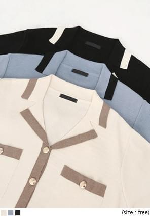 韓國空運 - 配色滾邊金釦針織外套