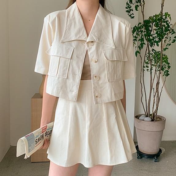 ★Half Price Sale★ Honey Butter Jacket SET Pocket Crop Jacket + Wrinkle Skirt Pants Set Product:)