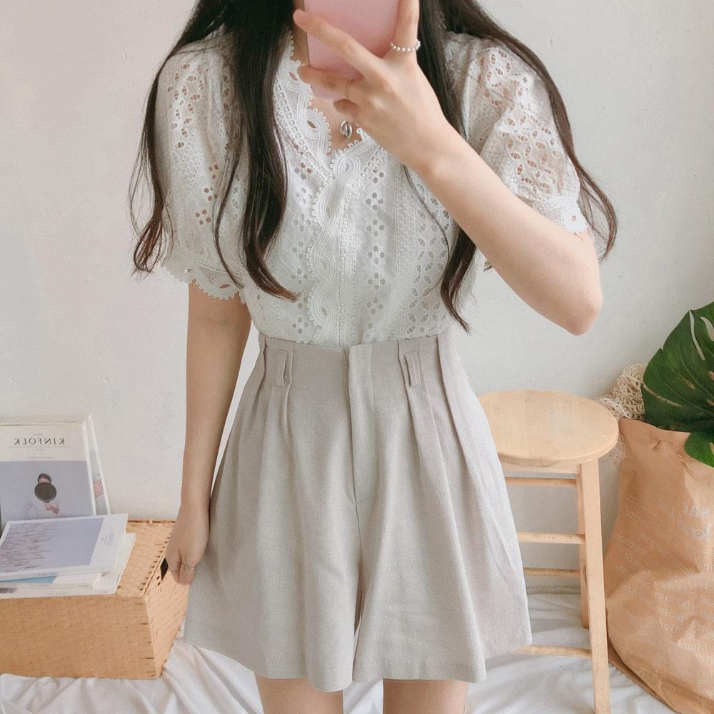 Motif lace short sleeve blouse 襯衫