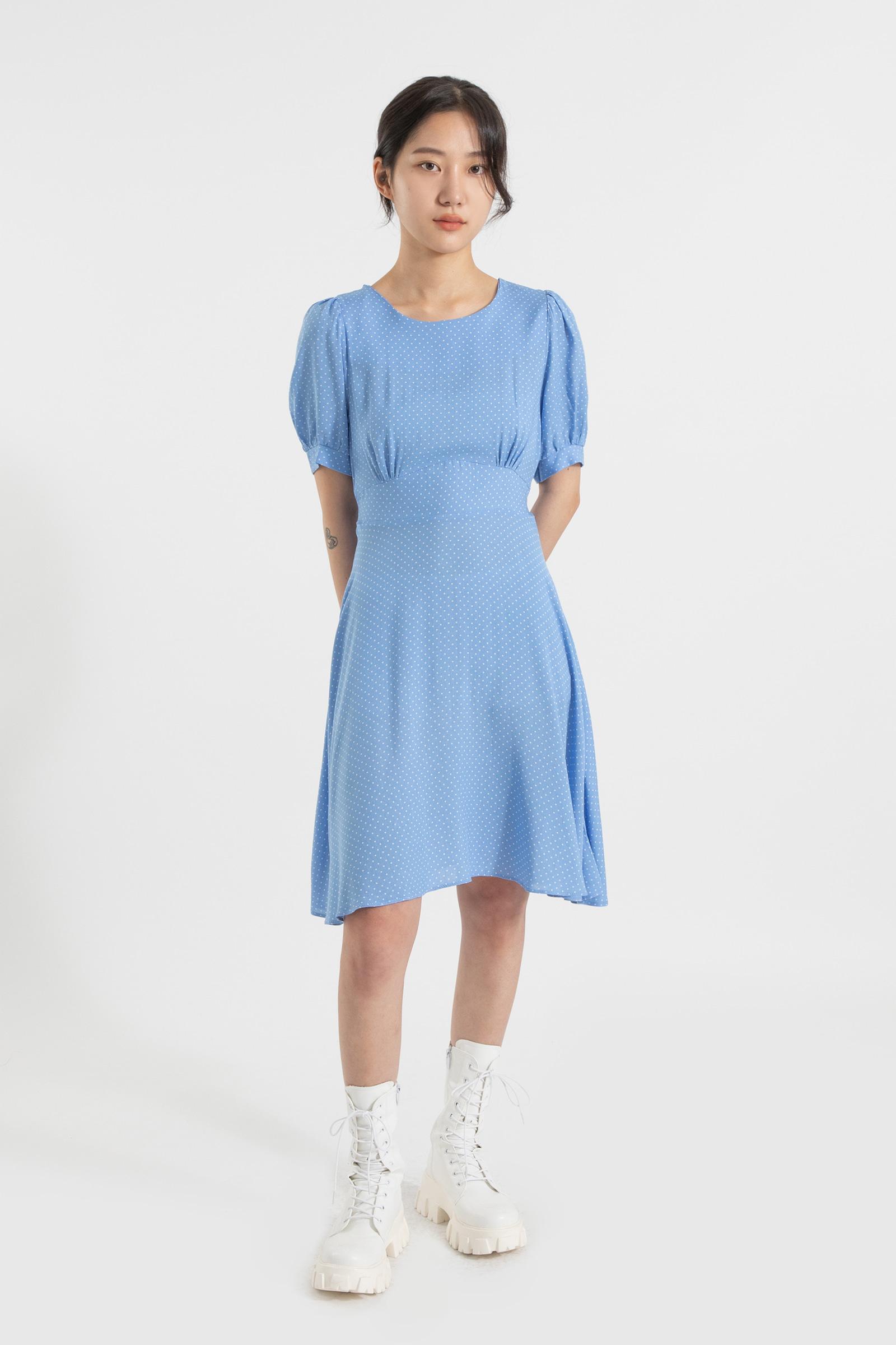 Mini dot shirring midi dress