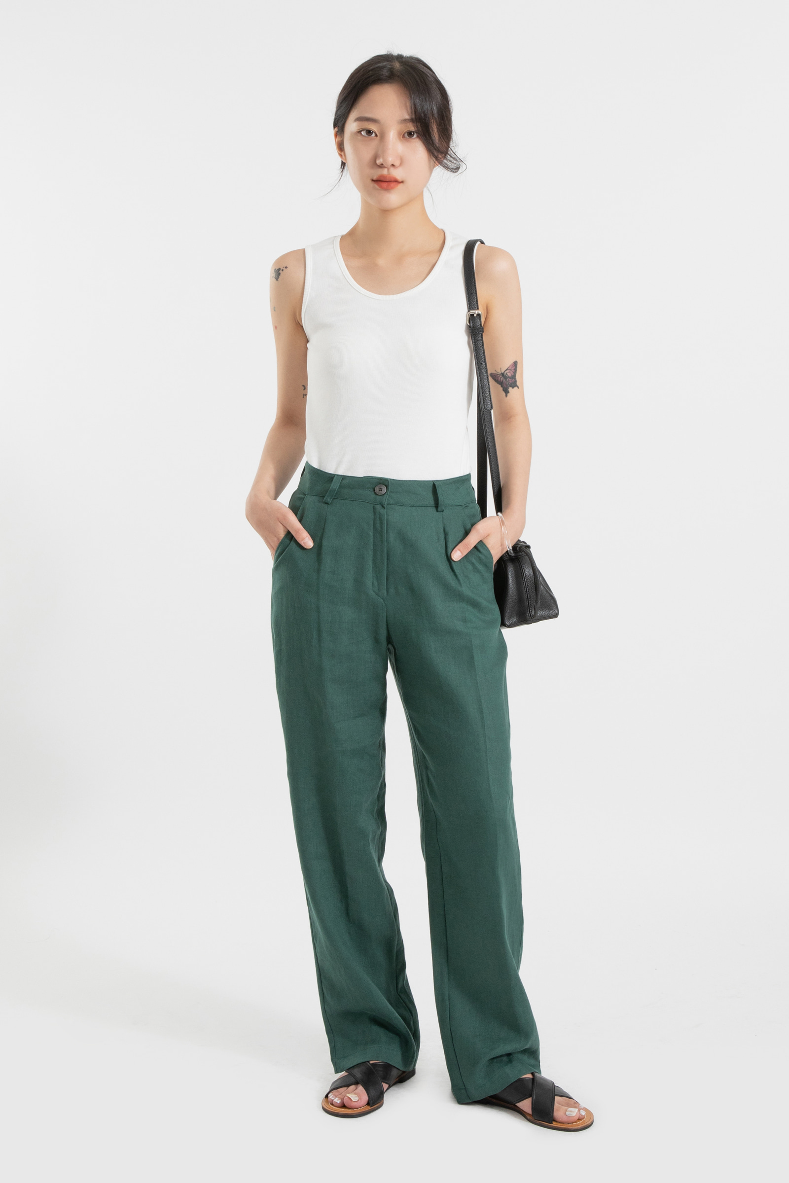 Lona Linen Straight Slacks