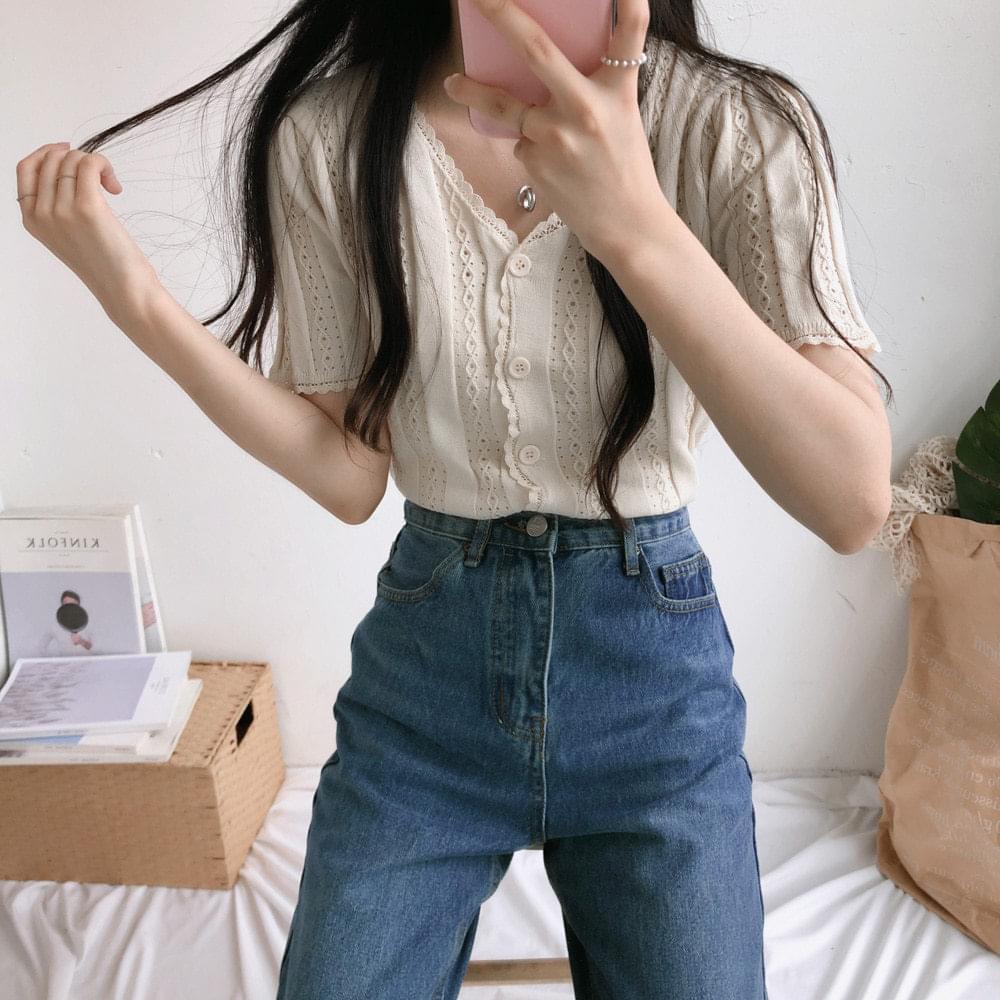 Scott lace short sleeve cardigan 開襟衫