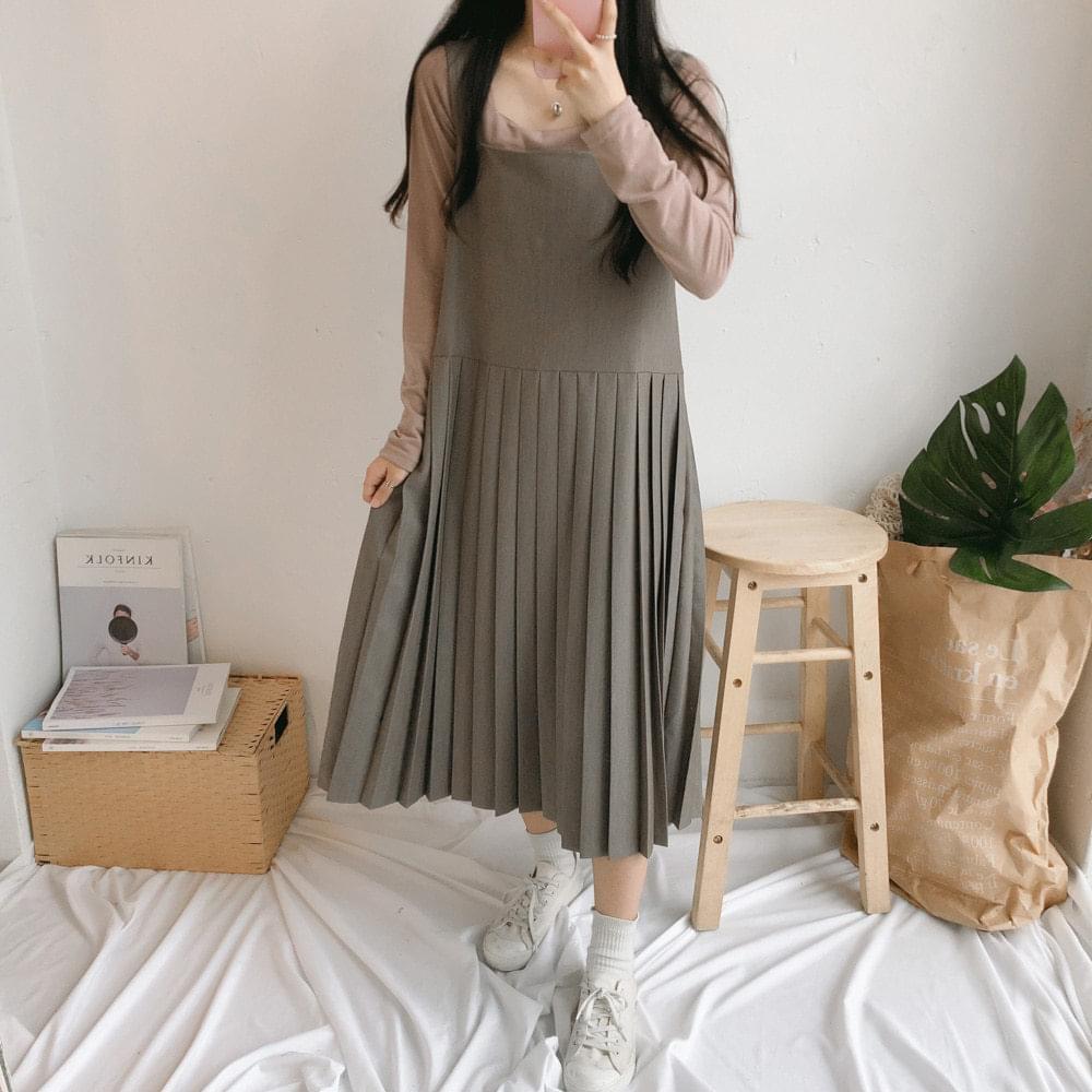 Powder bottom pleated long dress 洋裝