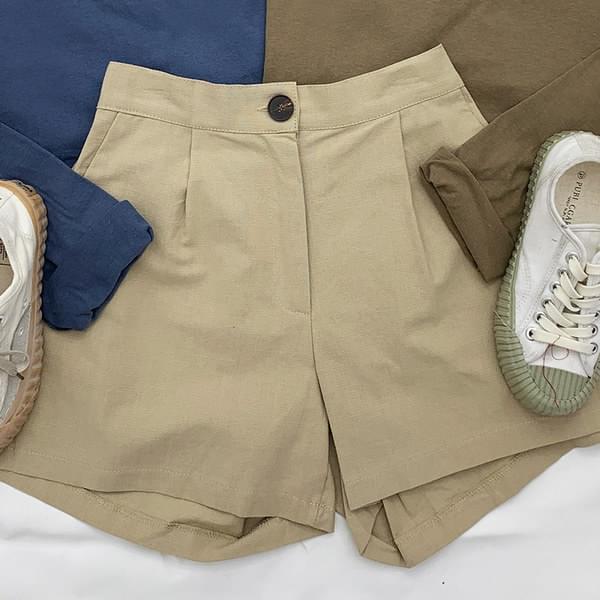 Pintuck linen short pants