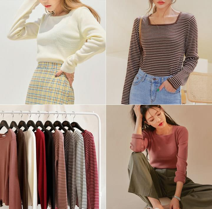 OROSEE SQUARE NECK KNIT - 2 TYPE