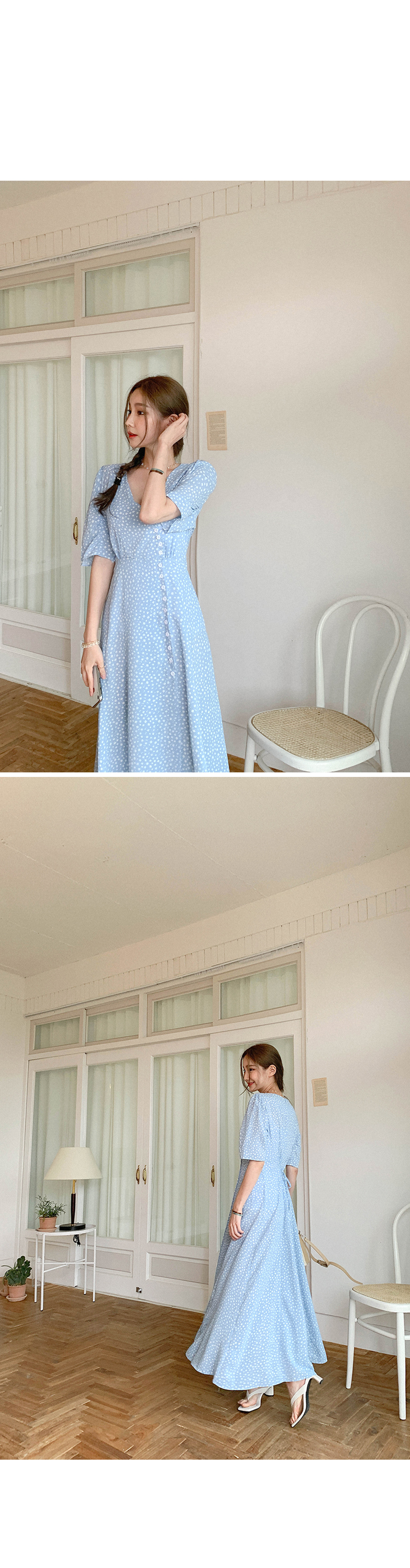 Exciting flower button long dress