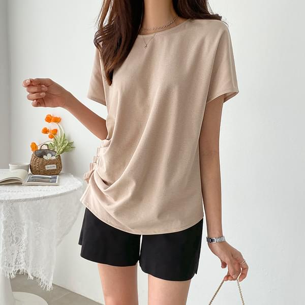 Shirring Pin Tuck Tencel T-shirt #108333