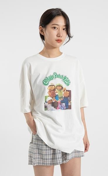 Cabbage printing over round neck T-shirt