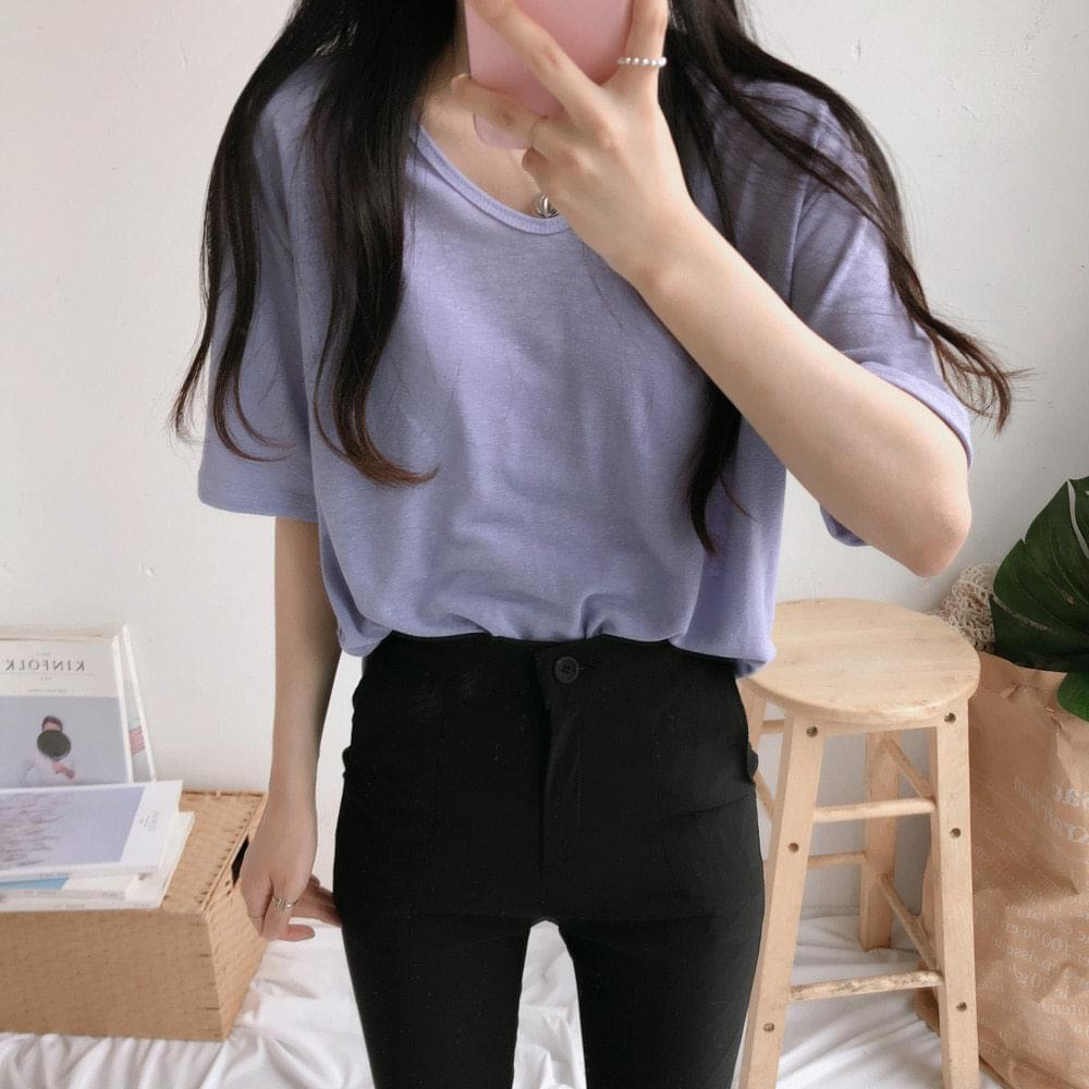 Linen V-neck short sleeve T-shirt 短袖上衣