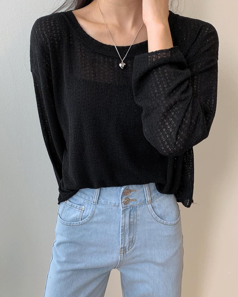 Songsong Jelly Summer Knitted Net Long Sleeve T-Shirt