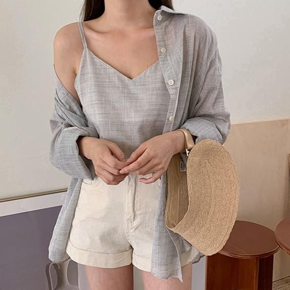 Zulji Striped Shirt SET Sleeveless Blouse + Overfit Shirt Set Product :)