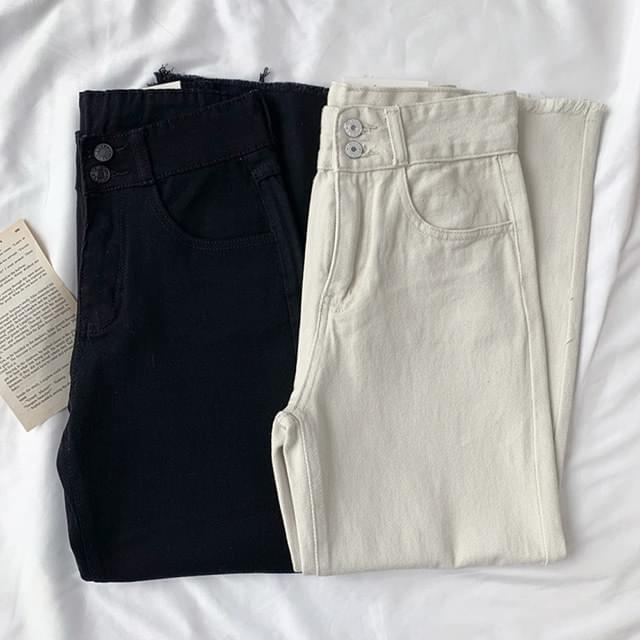 Two-button high cotton wide pants