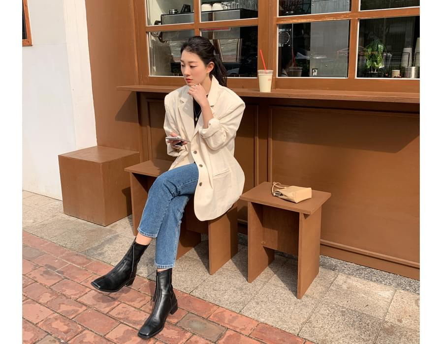 Chic linen overfit tailored jacket 夾克