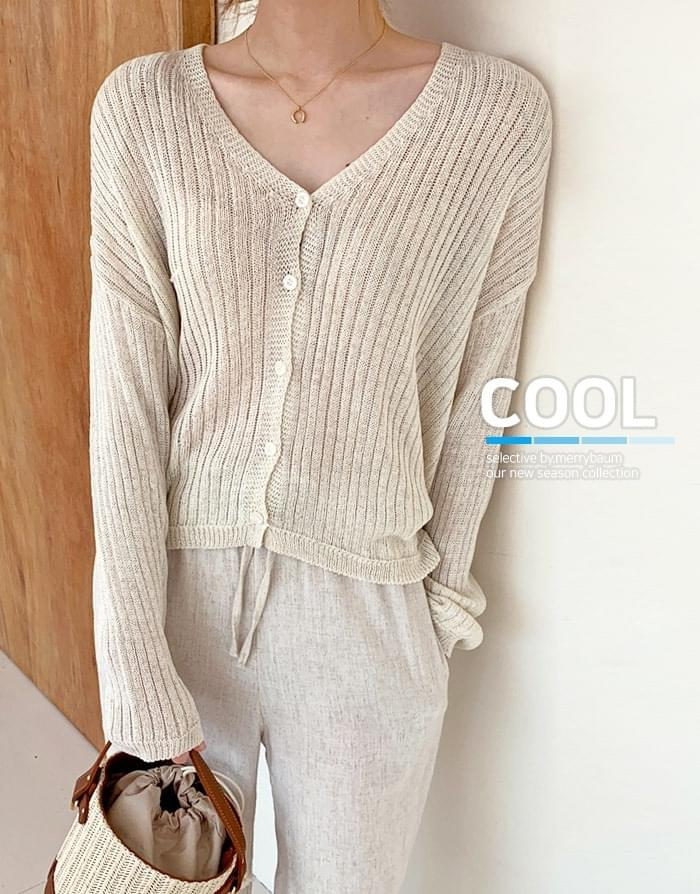 Butter linen ribbed knit cardigan