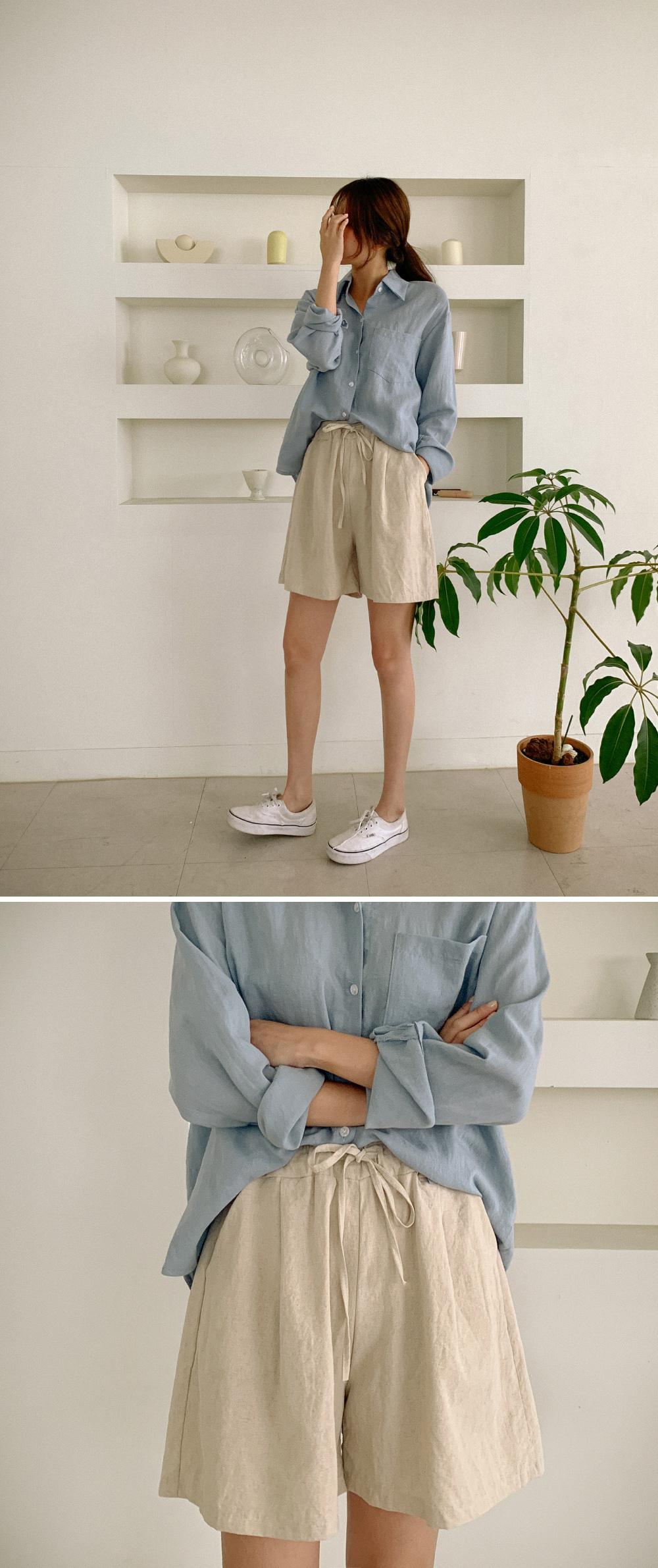 High waist banding 4 part short pants
