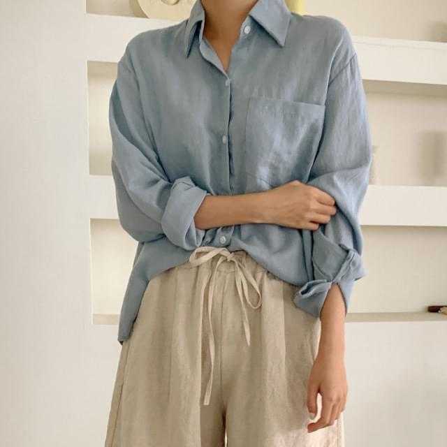 Daily unbalanced linen shirt