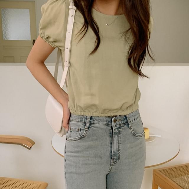 Linen banding crop blouse