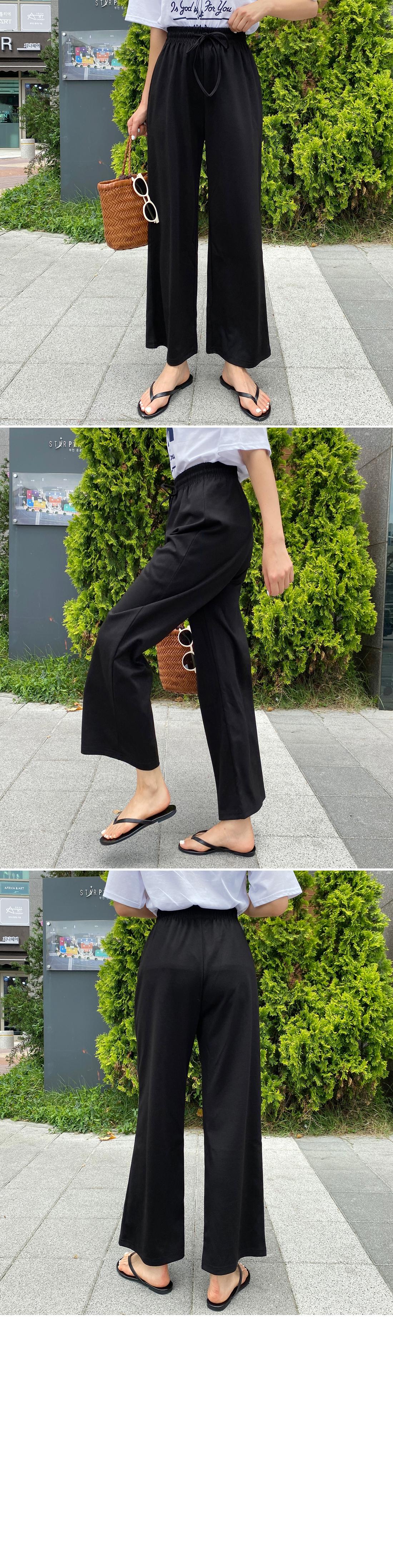 Cool banding wide pants