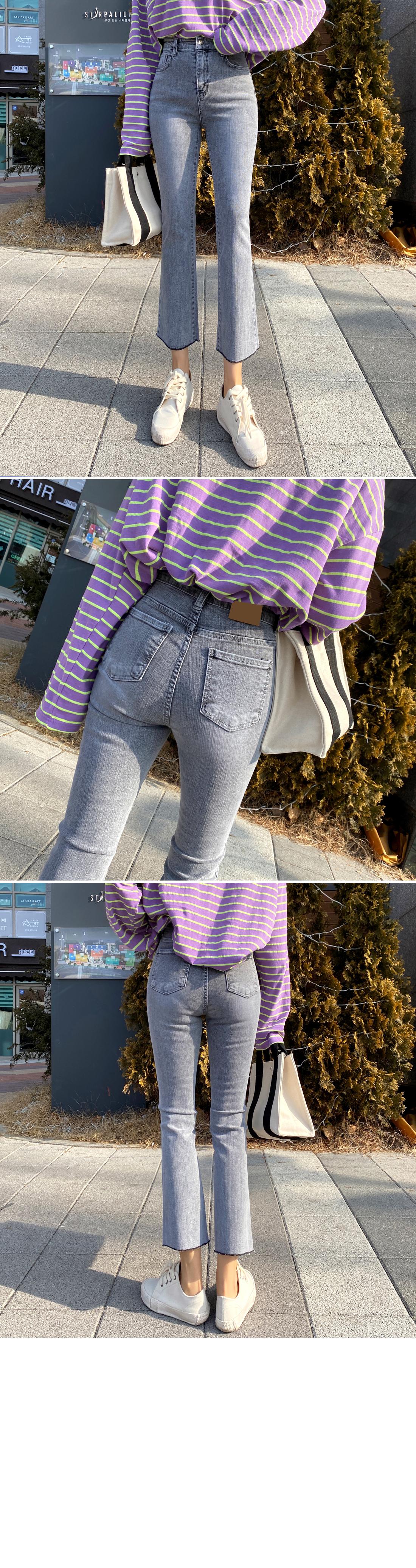 Gray high waist bootcut jeans