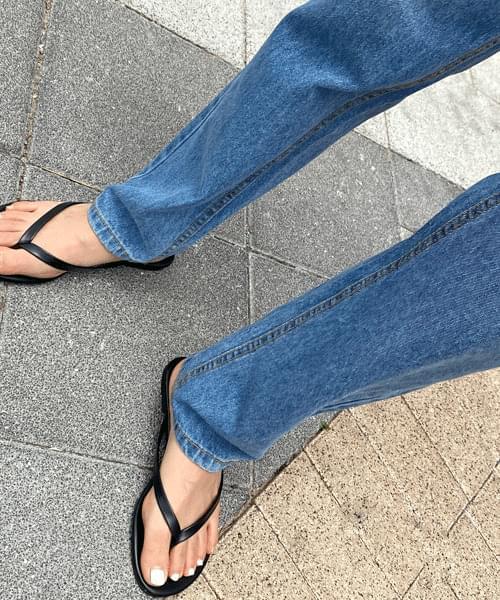 Semi-wide long straight jeans