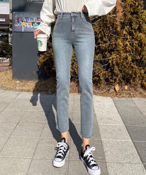 韓國空運 - Shadow high-waist slim jeans 牛仔褲