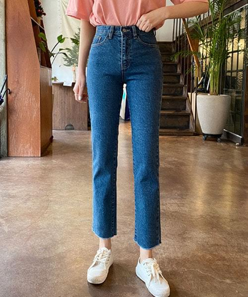 Wave high waist straight jeans