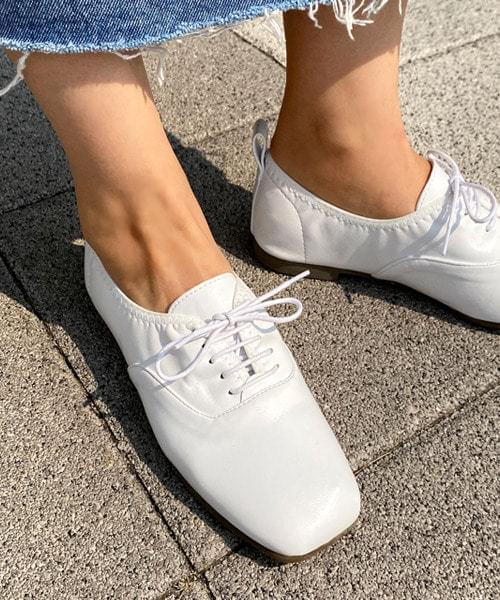 韓國空運 - Square banding lace-up loafers 樂福鞋