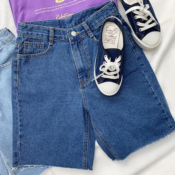 Lightweight denim-cut short pants