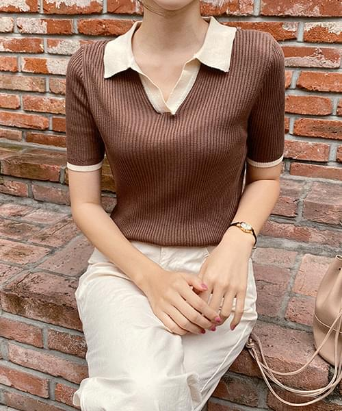Color short sleeve ribbed knit