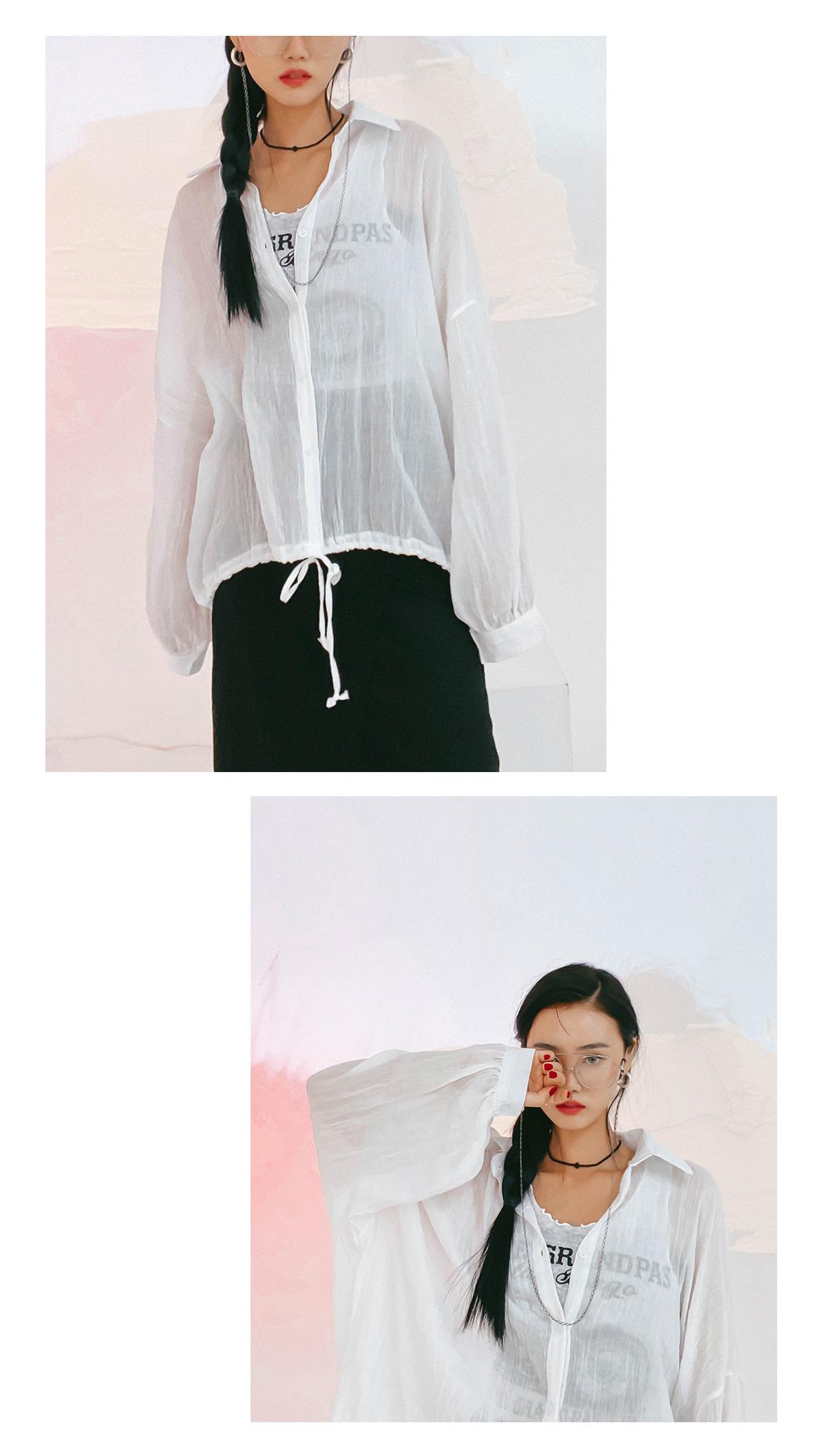 Linen pruned string shirt