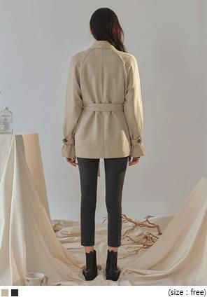 韓國空運 - 釦帶袖雙排釦風衣外套 大衣外套