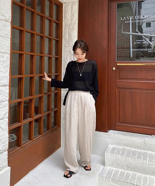 Long wide linen slacks