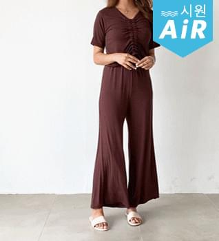 Shirring Top Wide Pants Two Piece Set #92560